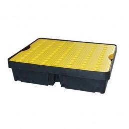 Bac de rétention 800 x 600 mm 40 litres avec caillebotis jaune