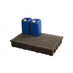 Bac de rétention 12230 x 830 mm capacité 120 litres avec plateforme zinguée.