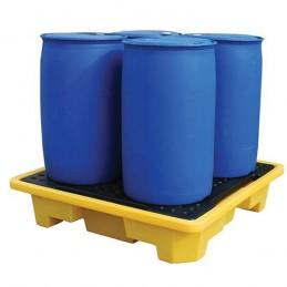 Bac de rétention 4 fûts 249 litres avec caillebotis