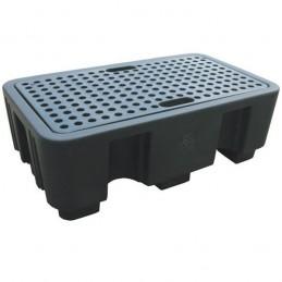 Palette de rétention pour 2 fûts acier ou plastique avec caillebotis