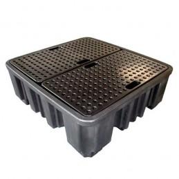 Palette de rétention pour 4 fûts acier ou plastique avec caillebotis