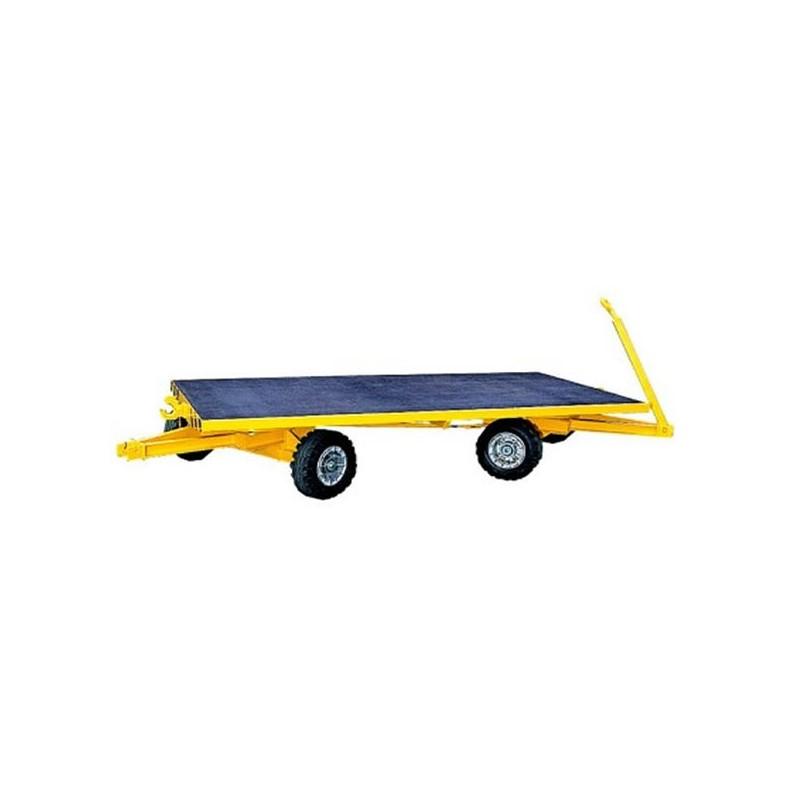 Remorque industrielle tractable sur couronnes à billes avec 2 essieux directeurs.