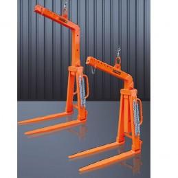 Lève-palette auto-équilibrée avec écartement et hauteur réglable.