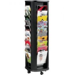 Présentoir mobile carrousel de 40 cases en situation avec des documents.