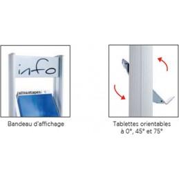 Présentoirs mobiles 4 tablettes métal avec bandeau d'affichage et tablettes orientables.