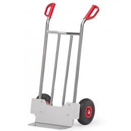 Diable aluminium 150 kg avec bavette standard et roues gonflables.