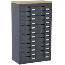 Meuble de classement 2 colonnes et 24 tiroirs couleur anthracite.
