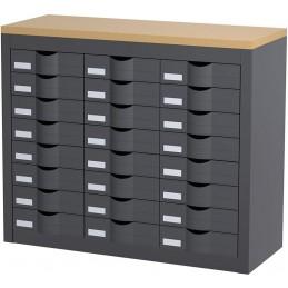 Module de classement 3 colonnes et 24 tiroirs couleur anthracite.