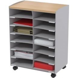 Desserte de bureau mobile à 14 cases couleur grise.
