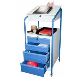 Pupitre d'atelier mobile avec 1 bloc de 4 tiroirs