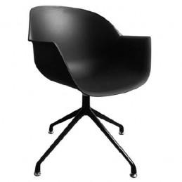 Lot de 2 chaises visiteurs MOON noire.