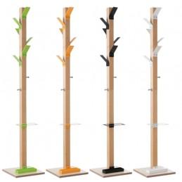 Portemanteaux bois avec 6 patères couleurs en polystyrène