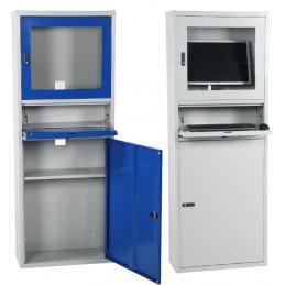 Armoire informatique compact pour atelier avec serrure à code, disponible en bleu ou gris.