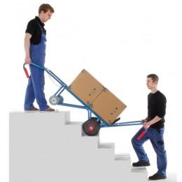 Diable brancard 400 kg pour appareils électroménagers en situation dans un escalier.
