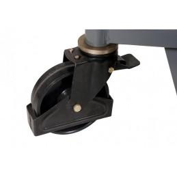 Gerbeur manuel léger capacité 800 kg, détail d'une roue avec frein.