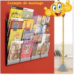 Présentoir mural juxtaposable 4 cases : exemple de montage dans un bureau.