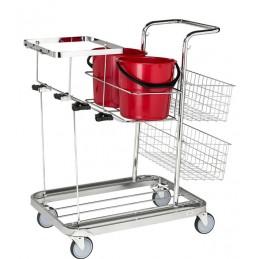 Chariot de nettoyage polyvalent pour sac poubelle de 125 litres avec la mise en place des seaux.