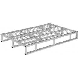 Palette en acier galvanisé avec 1 cadre et plateau grillagé