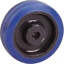 Roulette industrielle corps polyamide bandage élastique bleu