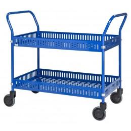 Chariot manuel 2 étagères avec rebords couleur bleu