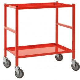 Chariot de service 2 étagères avec 6 finitions : rouge.