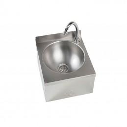 Lave-main en inox avec cuve ronde de 250 mm sans dos.