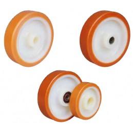 Roues industrielles corps polyamide 6 et bandage polyuréthane coulé