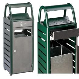 Cendrier corbeille acier 30 litres vert silver martelé.