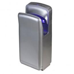 Sèche-mains à air pulsé couleur gris métallique.