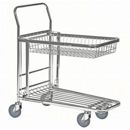 Chariot de magasin emboîtable avec panier supérieur