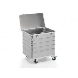 Chariot conteneur 223 litres aluminium avec couvercle.