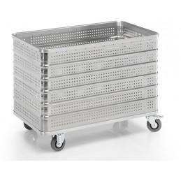 Chariot conteneur 430 litres aluminium parois perforées