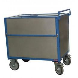 Chariot conteneur sécurisé en acier galva avec couvercle fermé.