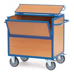Chariot caisse en bois avec couvercle capacité 600 kg