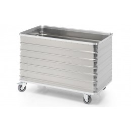 Chariot conteneur 570 litres aluminium parois pleines sans couvercle.