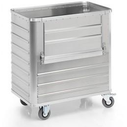 Chariot aluminium 355 litres avec une paroi rabattable, sans couvercle.