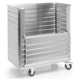 Chariot aluminium 1050 litres avec une paroi rabattable sans couvercle.