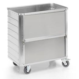 Chariot aluminium 355 litres avec une paroi coulissante vers le bas sans couvercle.