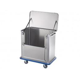 Chariot aluminium 360 litres avec une paroi rabattable jusqu'à mi-hauteur avec pare-choc