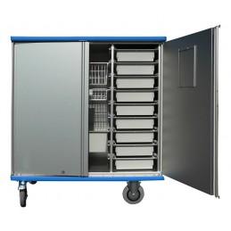Chariot armoire aluminium avec corbeilles modulaires 990 litres.