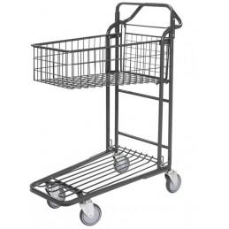 Chariot de magasin emboîtable avec plateau panier