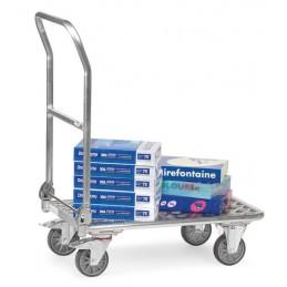 Chariot manuel à dossier rabattable en aluminium en situation