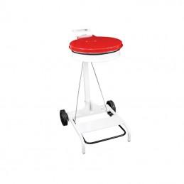 Support de sac poubelle mobile à pédale avec couvercle de couleur rouge