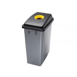Corbeille de tri avec couvercle jaune ouverture supérieure 60 litres