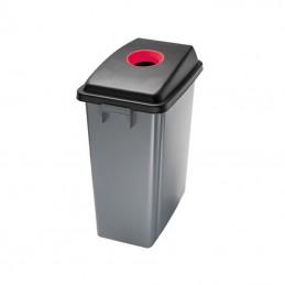 Corbeille de tri avec couvercle rouge ouverture supérieure 60 litres