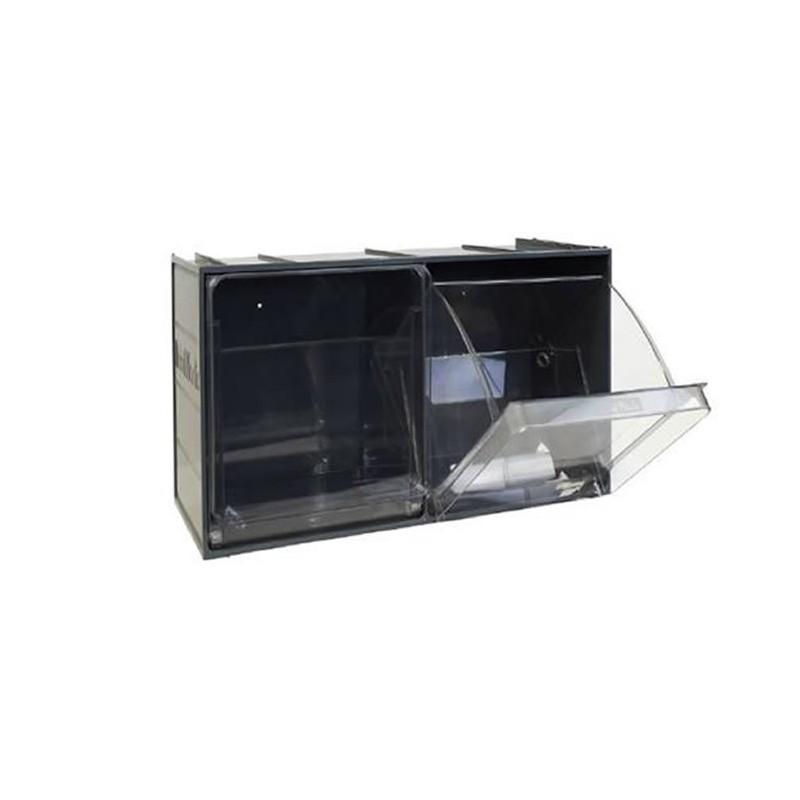 Bac-tiroirs basculants 2 godets transparents