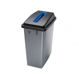 Corbeille de tri avec couvercle bleu ouverture supérieure 60 litres