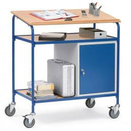 Pupitre mobile spécial emballage ou contrôle en production en situation sur un espace de contrôle qualité.