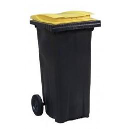 Conteneur à déchets 120 litres avec couvercle de couleur jaune.