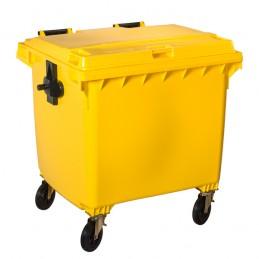 Conteneur à déchets jaune 1100 litres sur 4 roues